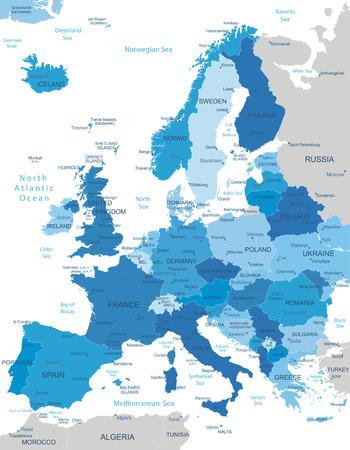 Europa-zeer gedetailleerde kaart Alle elementen zijn gescheiden in bewerkbare lagen duidelijk gelabeld