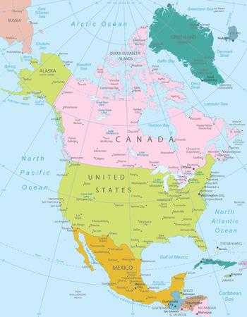北アメリカ-すべての要素は編集可能なレイヤーが明確にラベル付けで区切られて非常に詳細な地図