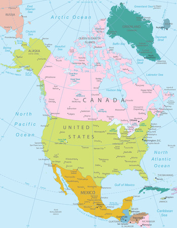 north america: North America -highly detailed map All elements are separated in editable layers clearly labeled