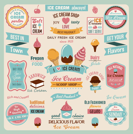 와플: 아이스크림 디자인 배지 및 레이블의 컬렉션