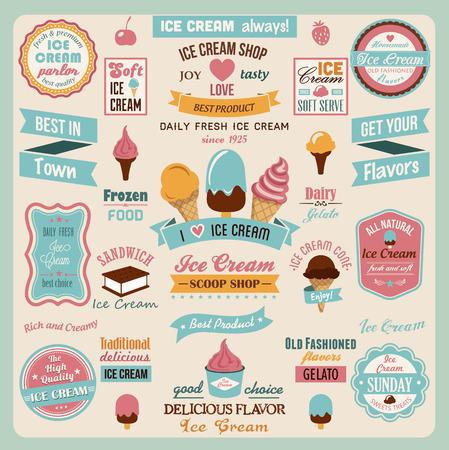 Colección del helado Diseño Insignias y etiquetas Vectores