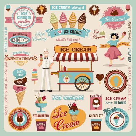 와플: 아이스크림 디자인 요소의 컬렉션 일러스트