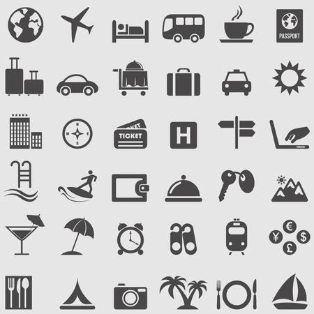 viaggi: Viaggi e turismo Set di icone Vettoriali