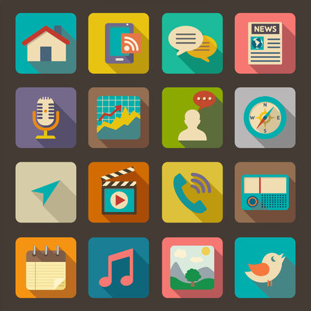 icon phone: Flat icons set for Web and Mobile Applications  Illustration