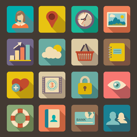 multimedia icons: Flat icons set for Web and Mobile Applications  Illustration