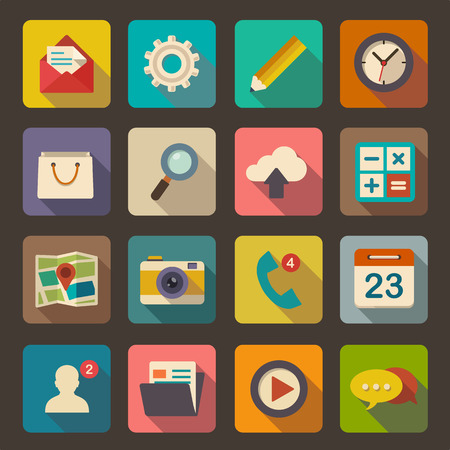 clock icon: Flat icons set for Web and Mobile Applications Illustration