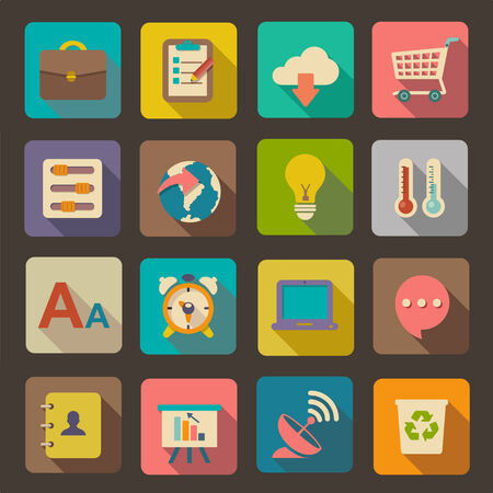 Flat icons set for Web and Mobile Applications 版權商用圖片 - 25761941