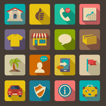Flat icons set for Web and Mobile Applications  Illustration