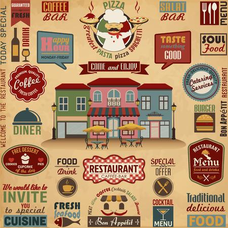 レストランのデザイン要素のコレクション