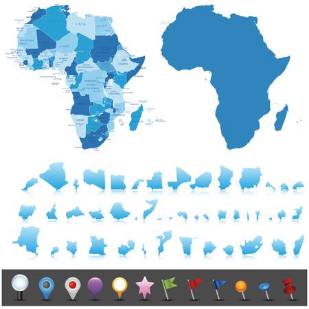 Mapa político de África Vectores