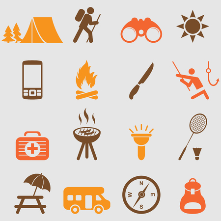 tent: Camping icons set