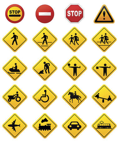 with stop sign: Road Sign Set  Illustration
