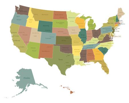 국가 및 도시의 이름을 가진 매우 상세한 정치 미국지도 일러스트