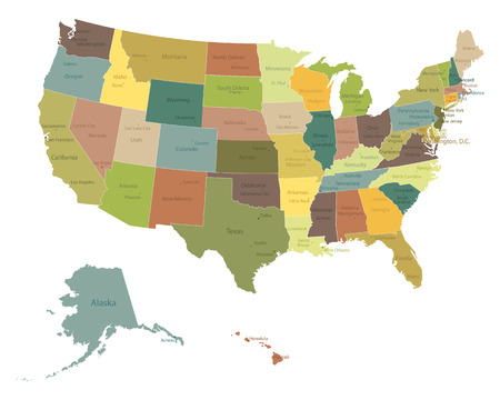 Highly detailed political USA map with names of states and cities Ilustrace