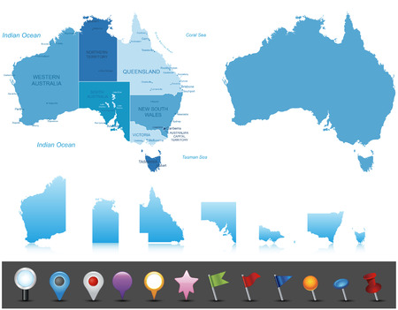 map pin: Australia - highly detailed map All elements are separated in editable layers clearly labeled