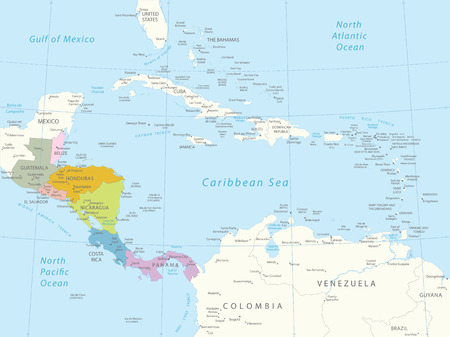 Central America -highly detailed map All elements are separated in editable layers clearly labeled  Иллюстрация