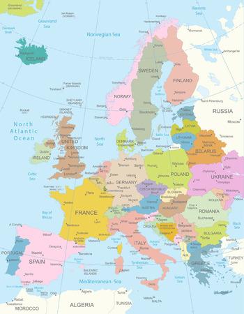 mapa: Europa-altamente mapa detallado Todos los elementos están separados en capas editables claramente etiquetados
