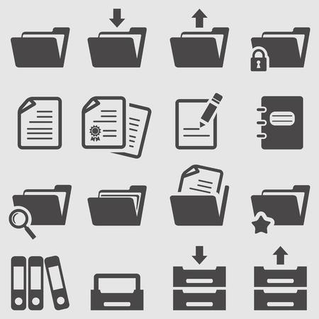 Iconos de la carpeta fijados Ilustración de vector