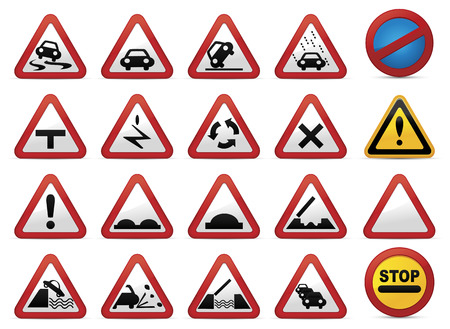 Road sign set Vectores