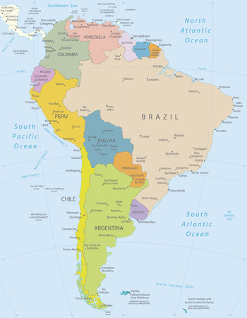 Jižní Amerika-velmi podrobná mapa Všechny prvky jsou odděleny v editovatelných vrstev zřetelně označeny Ilustrace