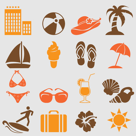 flip flops on the beach: Summer icons set