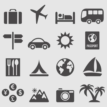 viajes: Los iconos de viajes a configurar Vectores