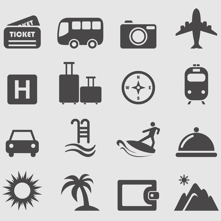 train ticket: Travel icons set