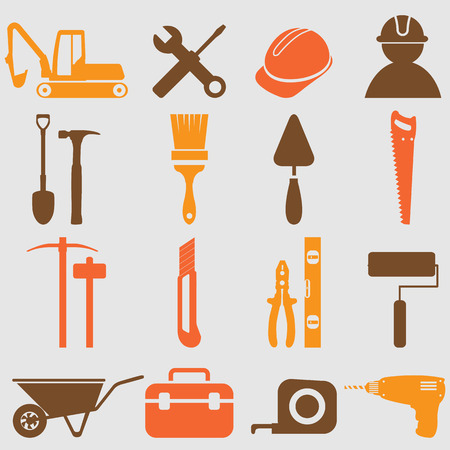 construction level: Worker tools icons