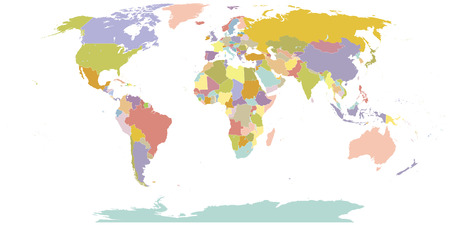 High Detail World map All elements are separated in editable layers clearly labeled Illustration