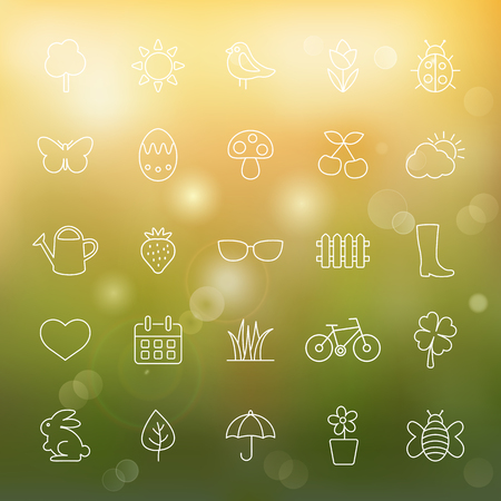 Spring line icons set.Vector