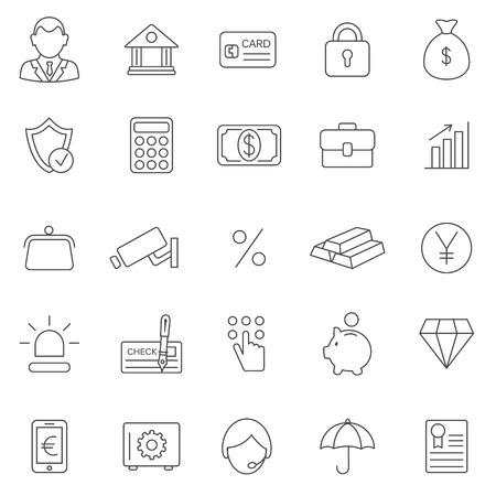 Bank line icons set.Vector