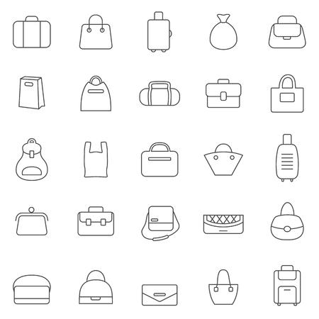 Bag line icons set.Vector Иллюстрация