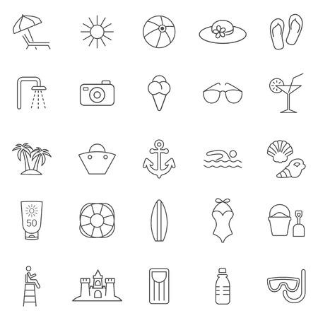 Beach line icons set.Vector Vector