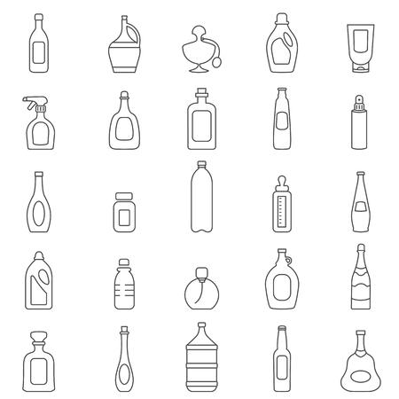 ボトル ラインのアイコンを設定します。ベクトル  イラスト・ベクター素材