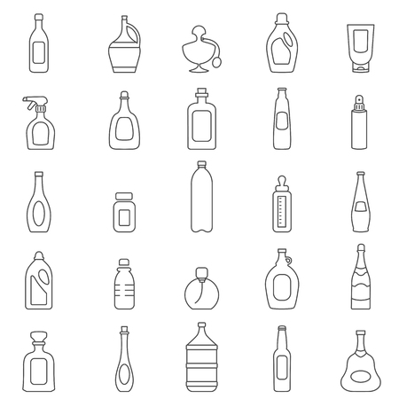 Bottle line icons set.Vector