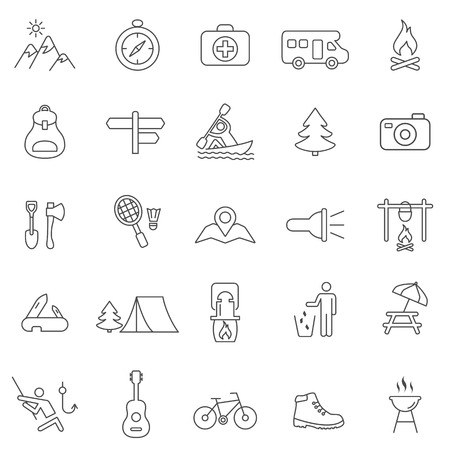 Camping line icons set.Vector