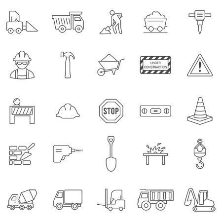 jack hammer: Construction line icons set.Vector