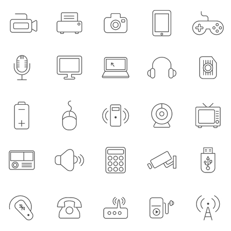 communications tower: Device line icons set.Vector Illustration