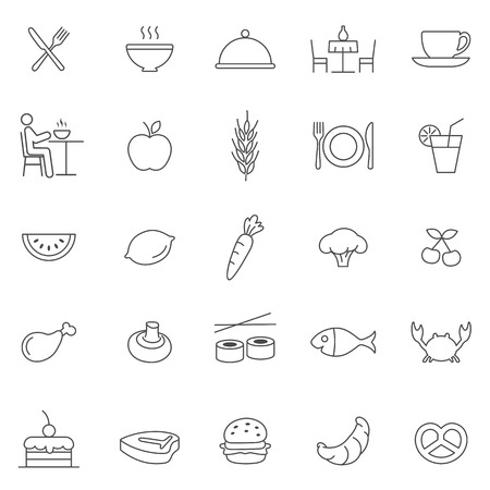 Eating line icons set.Vector Иллюстрация
