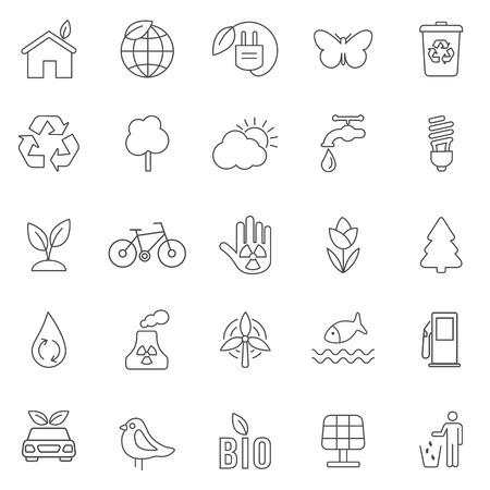 Eco line icons set .Vector