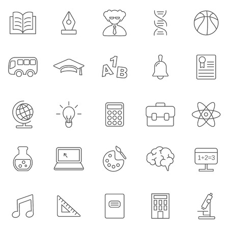 Education line icons set.Vector     Image ID: 259353047     Copyright: ekler      Standard License     Enhanced License  	Vector	Scale to any size without loss of resolution. 	JPEG	Large	5001 x 5001	42.3 cm x 42.3 cm (300dpi) Illustration
