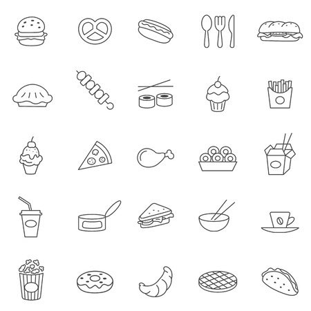 Fast food line icons set.Vector