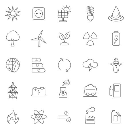 steam turbine: Energy line icons set.Vector
