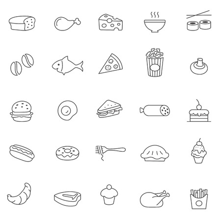 Food line icons set.Vector Vector