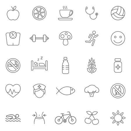 swiming: Healthy line icons set.Vector