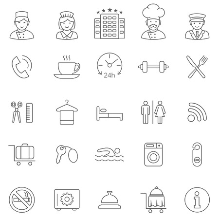 Hotel line icons set.Vector