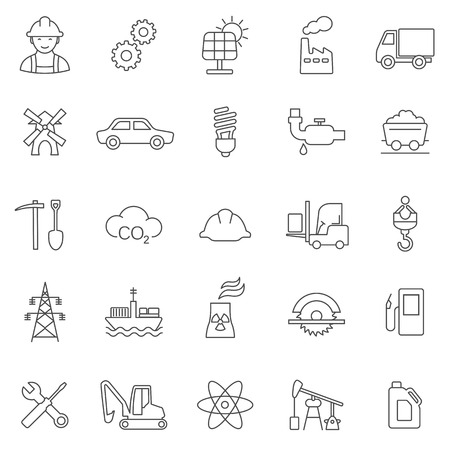 Industrial line icon set