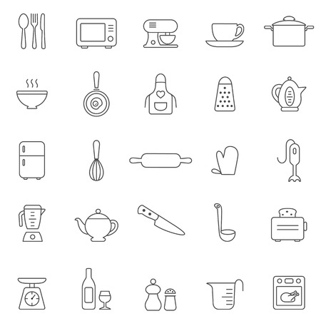 Kitchen and Utensil line icon set. Vector Vectores