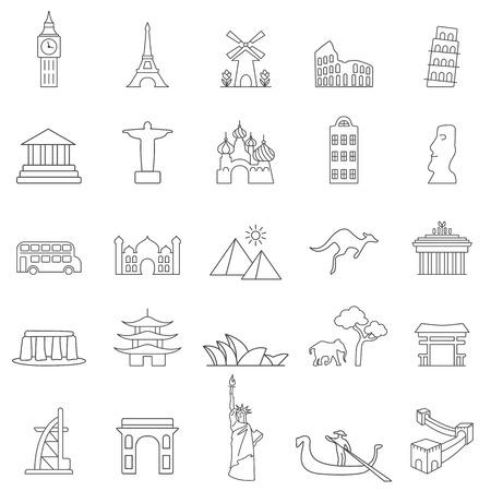 Travel landmarks line icon set Иллюстрация