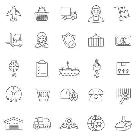handling: Logistic line icons set.Vector
